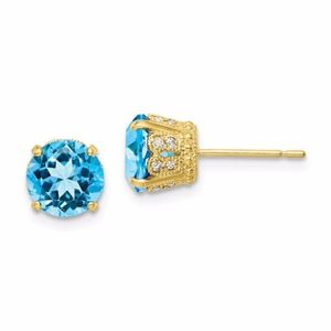 10K Blue Topaz Post Earrings